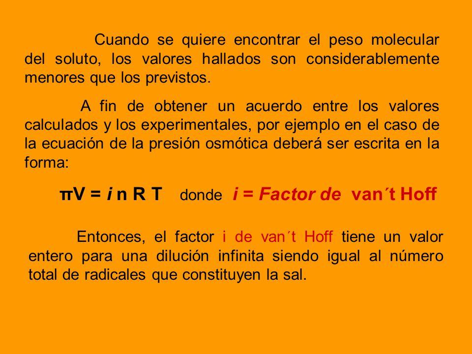 Cuando se calculan las propiedades coligativas de las soluciones electrolíticas es necesario utilizar el factor i de van t Hoff que está ligado al núm