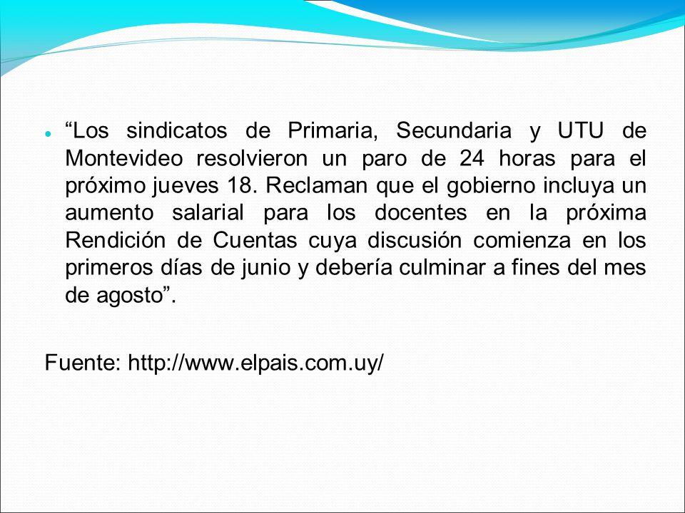 Los sindicatos de Primaria, Secundaria y UTU de Montevideo resolvieron un paro de 24 horas para el próximo jueves 18. Reclaman que el gobierno incluya