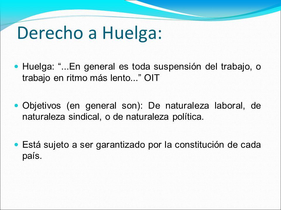Derecho a Huelga: Huelga:...En general es toda suspensión del trabajo, o trabajo en ritmo más lento... OIT Objetivos (en general son): De naturaleza l