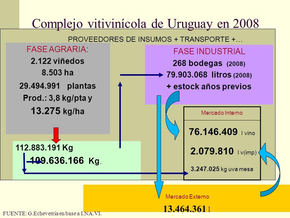 Complejo vitivinícola de Uruguay en 2008 FASE AGRARIA: 2.122 viñedos 8.503 ha 29.494.991 plantas Prod.: 3,8 kg/pta y 13.275 kg/ha FASE INDUSTRIAL 268 bodegas (2008) 79.903.068 litros (2008) + estock años previos 112.883.191 Kg 109.636.166 Kg.