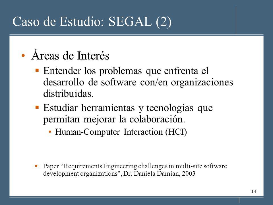 14 Caso de Estudio: SEGAL (2) Áreas de Interés Entender los problemas que enfrenta el desarrollo de software con/en organizaciones distribuidas.
