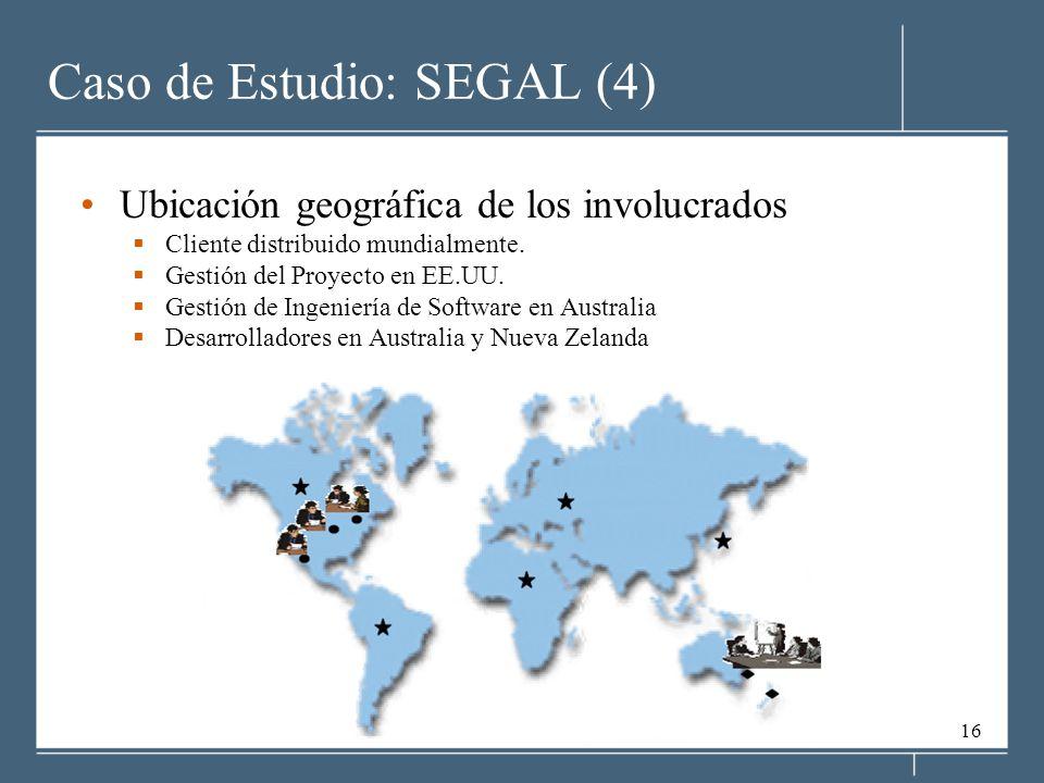 16 Caso de Estudio: SEGAL (4) Ubicación geográfica de los involucrados Cliente distribuido mundialmente. Gestión del Proyecto en EE.UU. Gestión de Ing