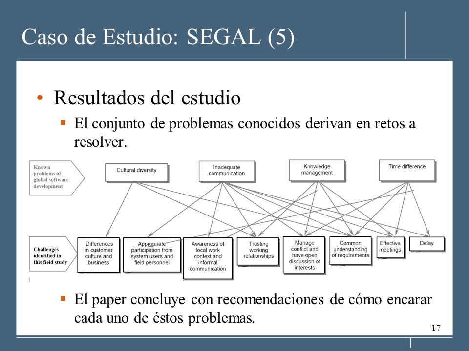 17 Caso de Estudio: SEGAL (5) Resultados del estudio El conjunto de problemas conocidos derivan en retos a resolver.