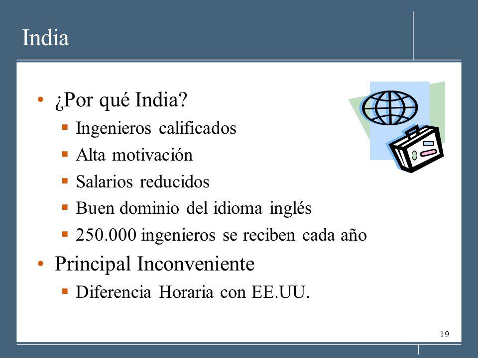 19 India ¿Por qué India? Ingenieros calificados Alta motivación Salarios reducidos Buen dominio del idioma inglés 250.000 ingenieros se reciben cada a