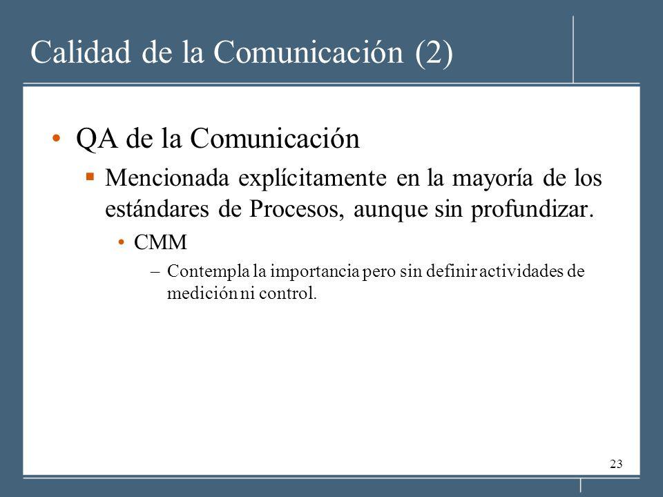 23 Calidad de la Comunicación (2) QA de la Comunicación Mencionada explícitamente en la mayoría de los estándares de Procesos, aunque sin profundizar.