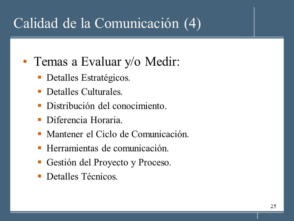 25 Calidad de la Comunicación (4) Temas a Evaluar y/o Medir: Detalles Estratégicos. Detalles Culturales. Distribución del conocimiento. Diferencia Hor