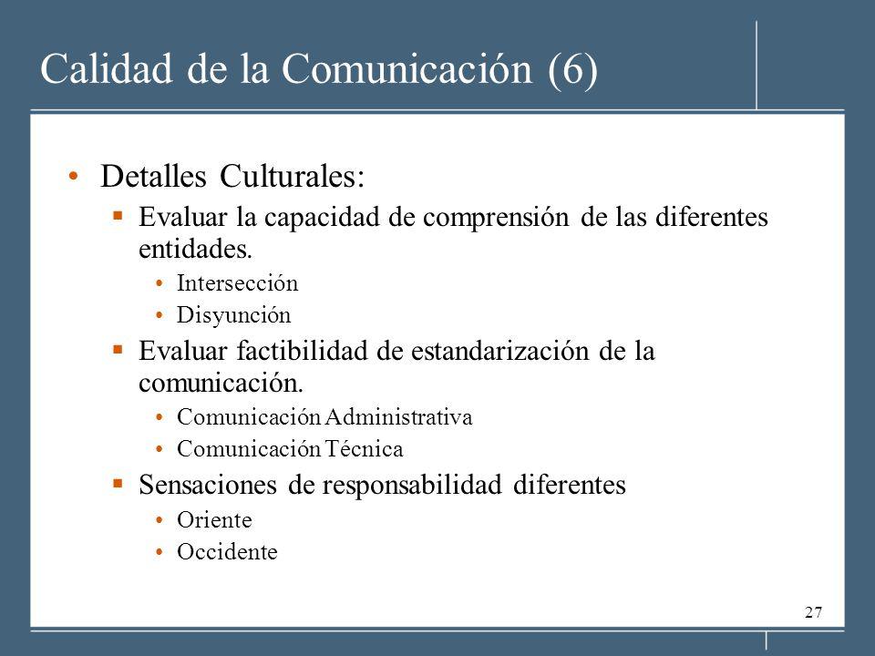 27 Calidad de la Comunicación (6) Detalles Culturales: Evaluar la capacidad de comprensión de las diferentes entidades. Intersección Disyunción Evalua