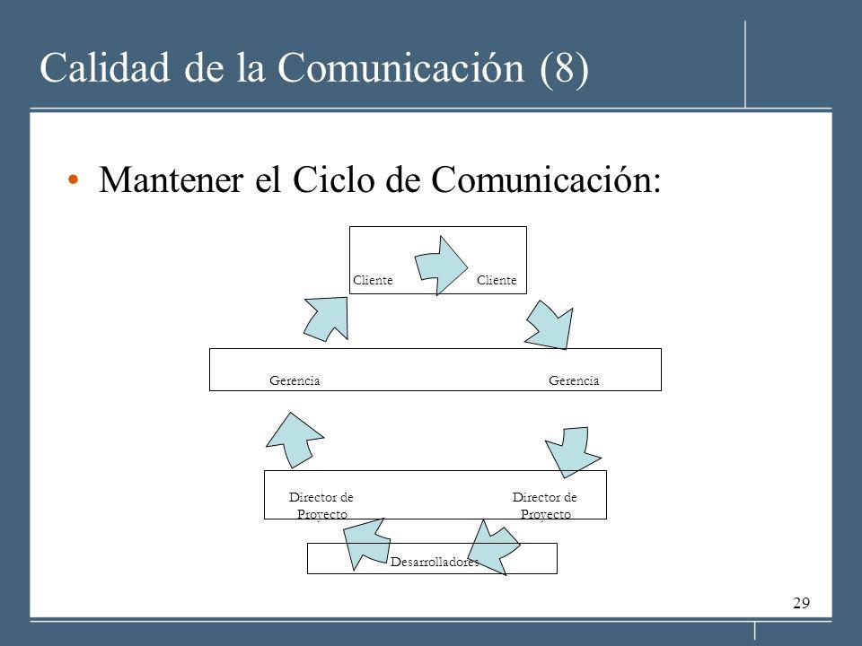 29 Calidad de la Comunicación (8) Mantener el Ciclo de Comunicación: Cliente Gerencia Director de Proyecto Desarrolladores Director de Proyecto Gerencia Cliente