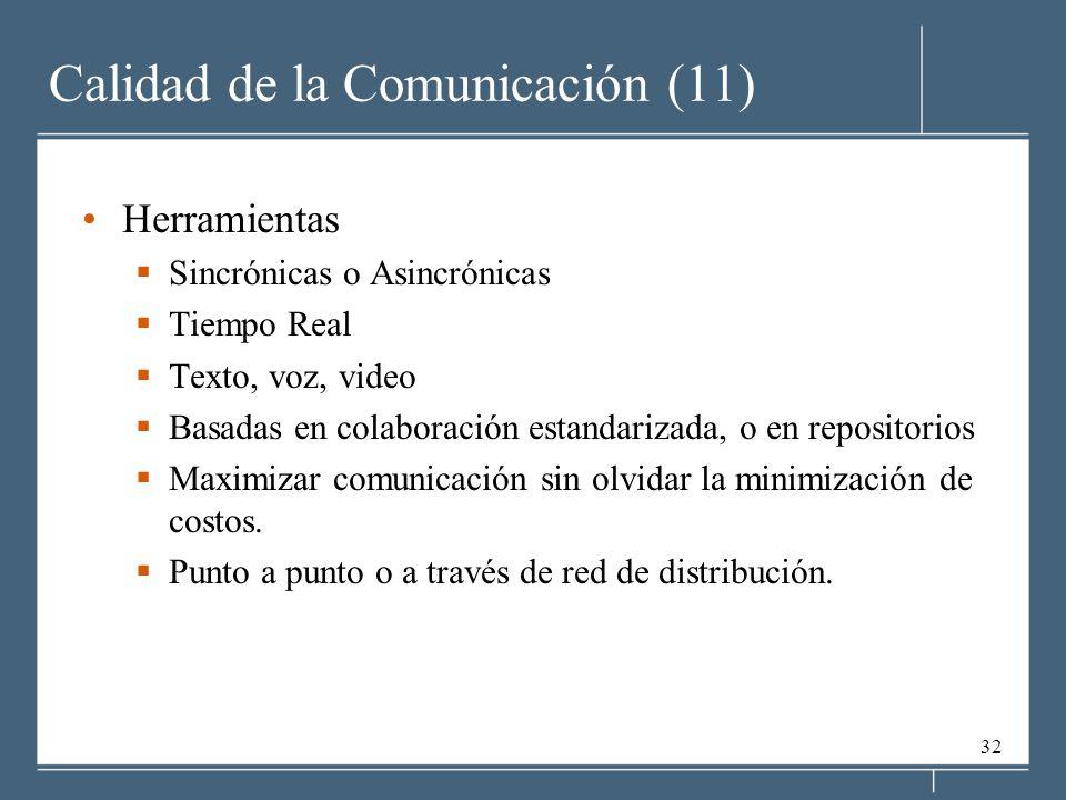 32 Calidad de la Comunicación (11) Herramientas Sincrónicas o Asincrónicas Tiempo Real Texto, voz, video Basadas en colaboración estandarizada, o en repositorios Maximizar comunicación sin olvidar la minimización de costos.