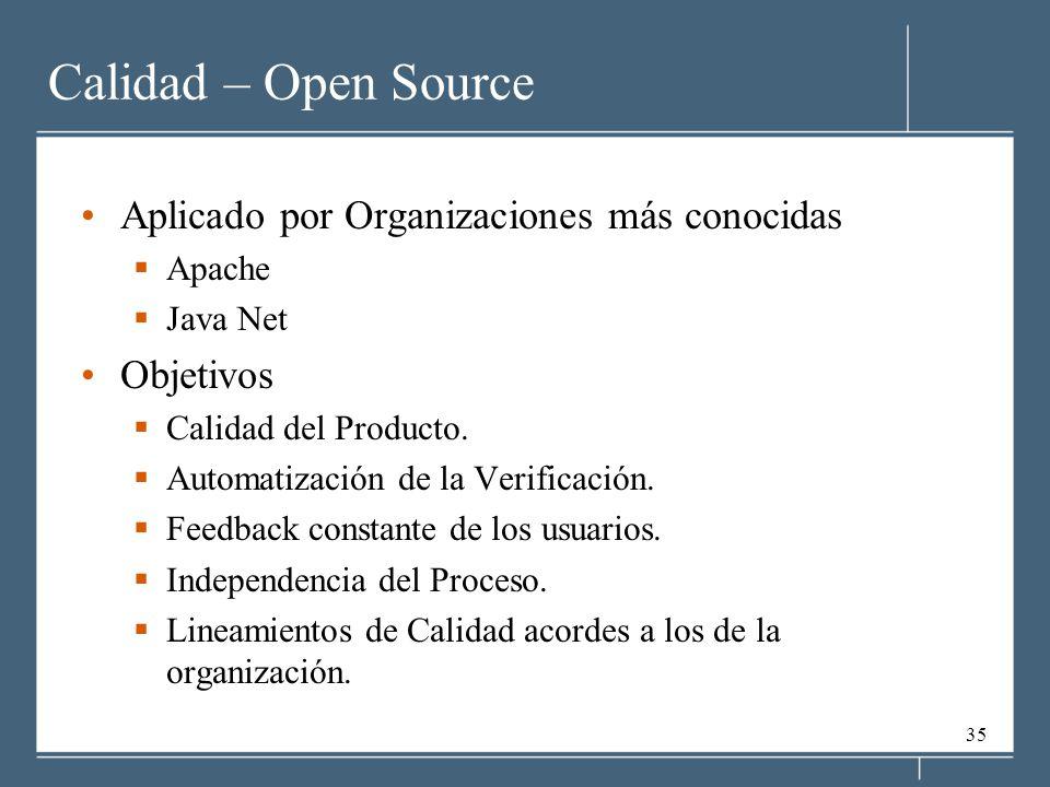 35 Calidad – Open Source Aplicado por Organizaciones más conocidas Apache Java Net Objetivos Calidad del Producto. Automatización de la Verificación.