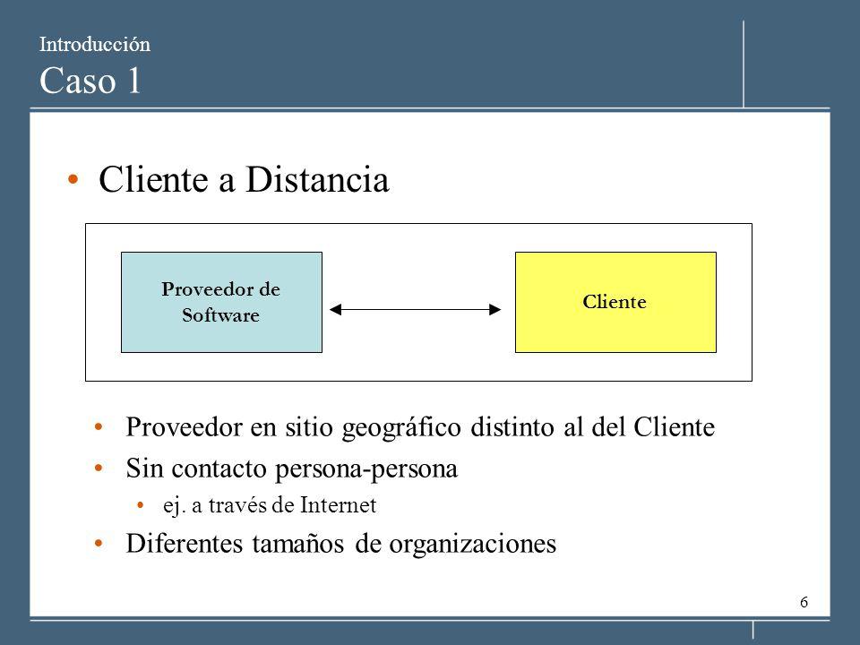 6 Introducción Caso 1 Cliente a Distancia Proveedor de Software Cliente Proveedor en sitio geográfico distinto al del Cliente Sin contacto persona-per