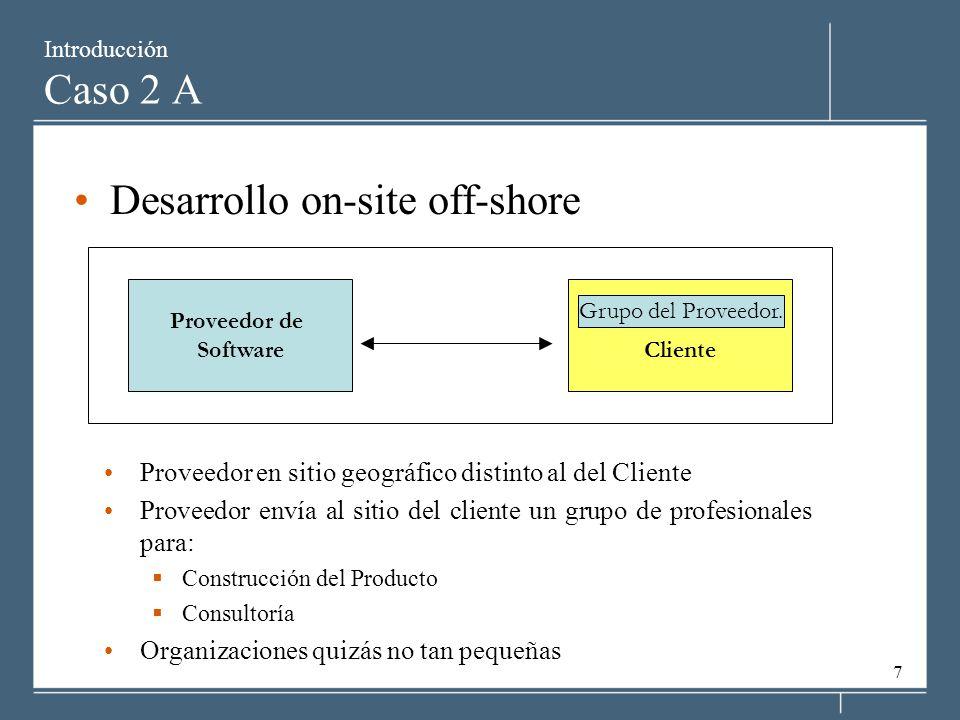7 Introducción Caso 2 A Desarrollo on-site off-shore Proveedor en sitio geográfico distinto al del Cliente Proveedor envía al sitio del cliente un grupo de profesionales para: Construcción del Producto Consultoría Organizaciones quizás no tan pequeñas Proveedor de SoftwareCliente Grupo del Proveedor.