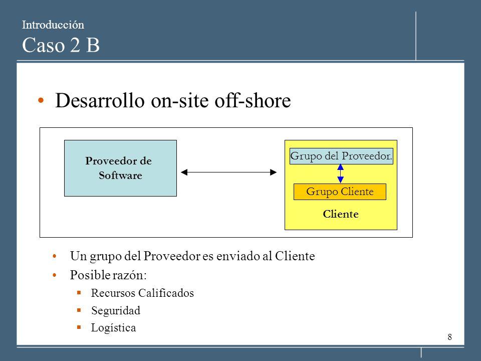 8 Introducción Caso 2 B Desarrollo on-site off-shore Un grupo del Proveedor es enviado al Cliente Posible razón: Recursos Calificados Seguridad Logíst