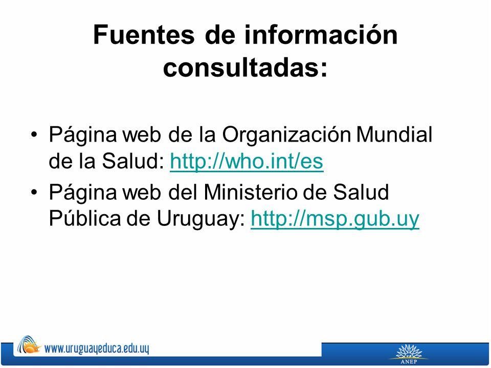 Fuentes de información consultadas: Página web de la Organización Mundial de la Salud: http://who.int/eshttp://who.int/es Página web del Ministerio de