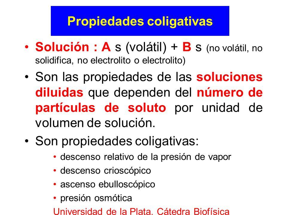 Propiedades coligativas Solución : A s (volátil) + B s (no volátil, no solidifica, no electrolito o electrolito) Son las propiedades de las soluciones diluidas que dependen del número de partículas de soluto por unidad de volumen de solución.