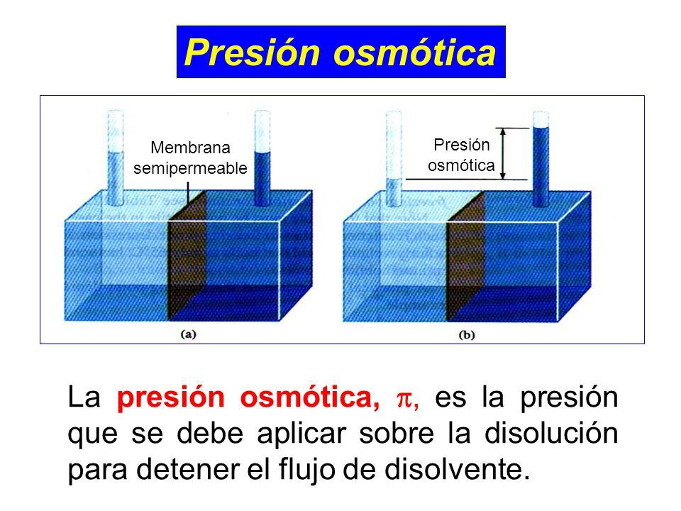 Presión osmótica Membrana semipermeable Presión osmótica La presión osmótica,, es la presión que se debe aplicar sobre la disolución para detener el flujo de disolvente.