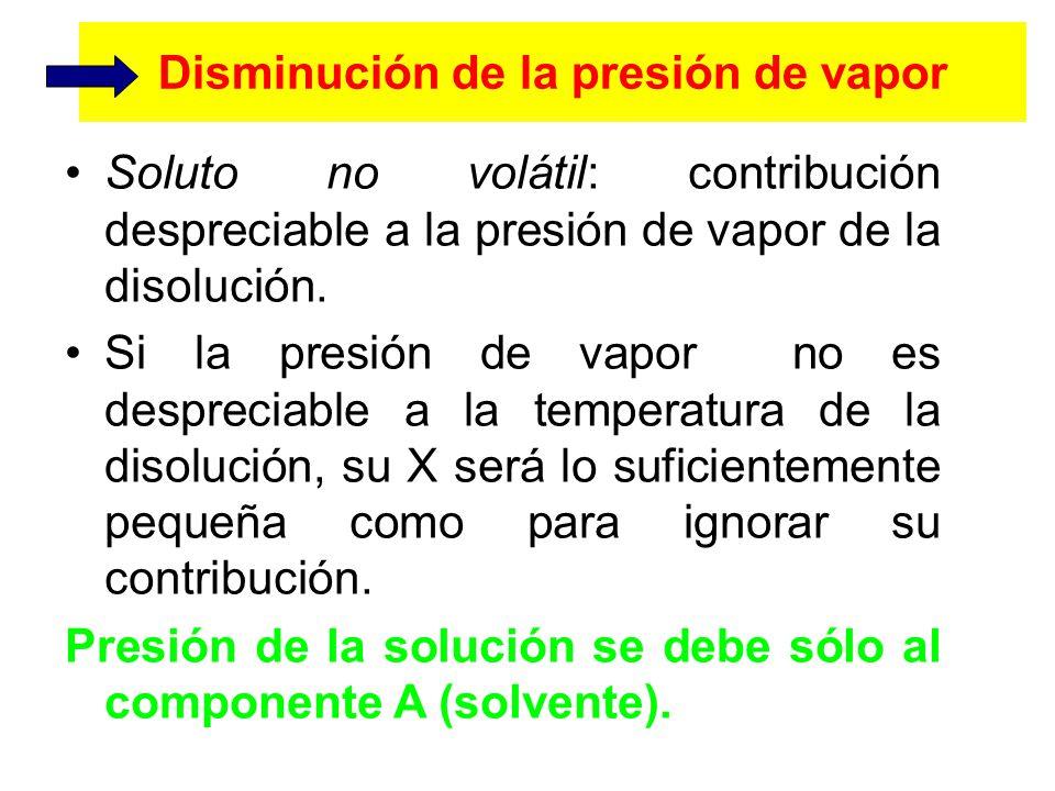 Disminución de la presión de vapor Soluto no volátil: contribución despreciable a la presión de vapor de la disolución.