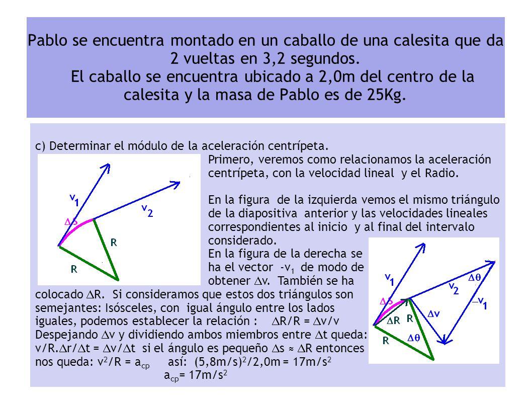 b) Determinar el módulo de la velocidad lineal. Primero, veremos como relacionamos la velocidad angular, con la lineal v. En la figura vemos un triáng