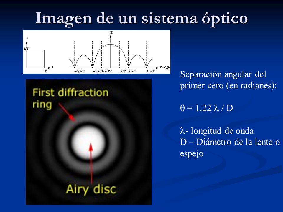 Imagen de un sistema óptico Separación angular del primer cero (en radianes): = 1.22 / D - longitud de onda D – Diámetro de la lente o espejo