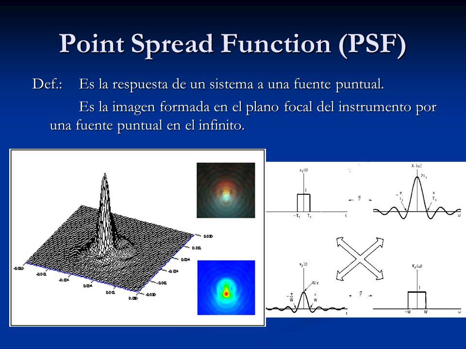 Point Spread Function (PSF) Def.: Es la respuesta de un sistema a una fuente puntual. Es la imagen formada en el plano focal del instrumento por una f