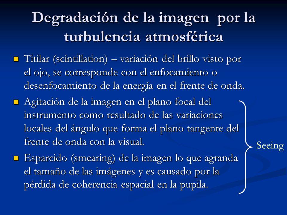 Degradación de la imagen por la turbulencia atmosférica Titilar (scintillation) – variación del brillo visto por el ojo, se corresponde con el enfocam