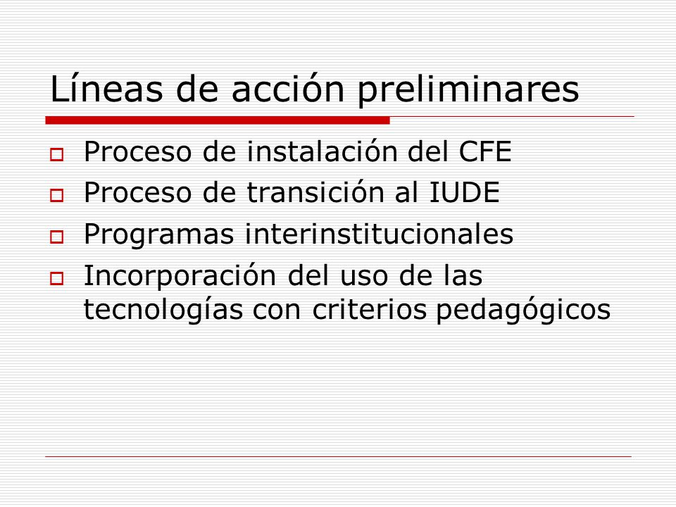 Líneas de acción preliminares Proceso de instalación del CFE Proceso de transición al IUDE Programas interinstitucionales Incorporación del uso de las