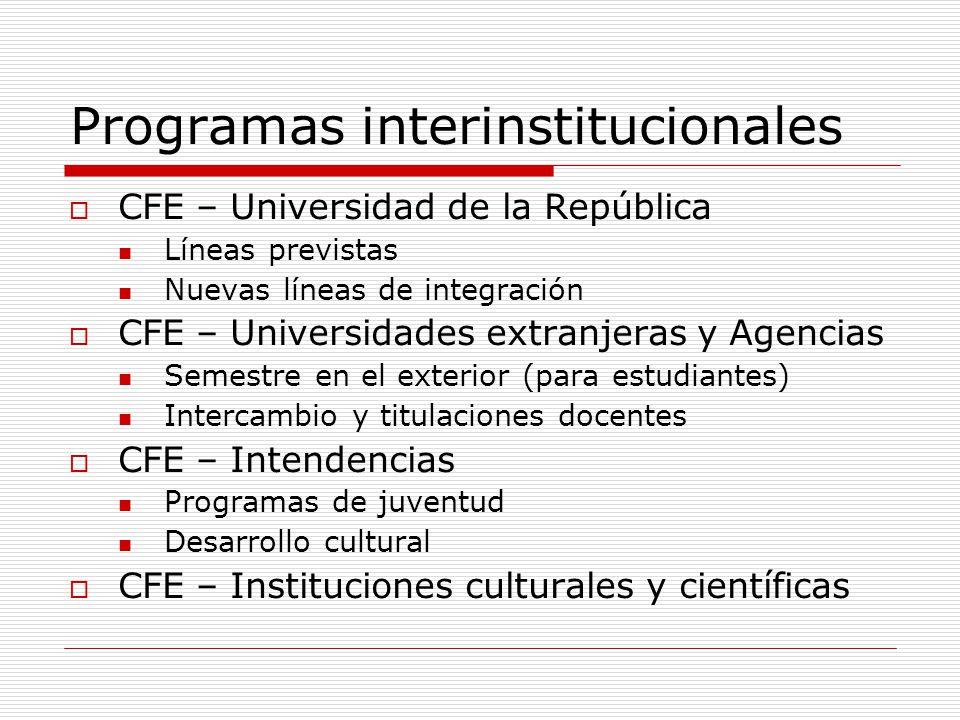Programas interinstitucionales CFE – Universidad de la República Líneas previstas Nuevas líneas de integración CFE – Universidades extranjeras y Agenc