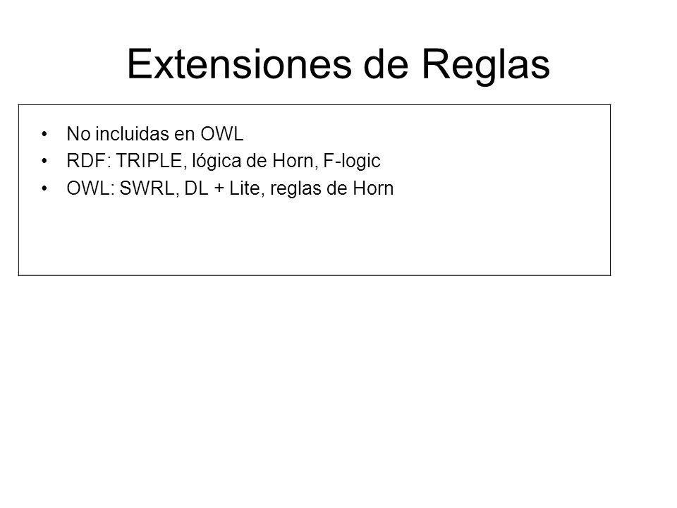 Extensiones de Reglas No incluidas en OWL RDF: TRIPLE, lógica de Horn, F-logic OWL: SWRL, DL + Lite, reglas de Horn