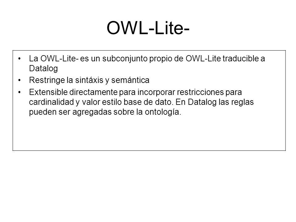 OWL-Lite- La OWL-Lite- es un subconjunto propio de OWL-Lite traducible a Datalog Restringe la sintáxis y semántica Extensible directamente para incorporar restricciones para cardinalidad y valor estilo base de dato.