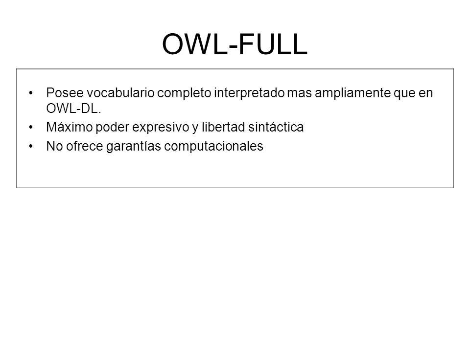 OWL-FULL Posee vocabulario completo interpretado mas ampliamente que en OWL-DL. Máximo poder expresivo y libertad sintáctica No ofrece garantías compu
