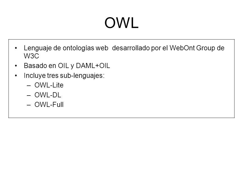 OWL Lenguaje de ontologías web desarrollado por el WebOnt Group de W3C Basado en OIL y DAML+OIL Incluye tres sub-lenguajes: –OWL-Lite –OWL-DL –OWL-Ful