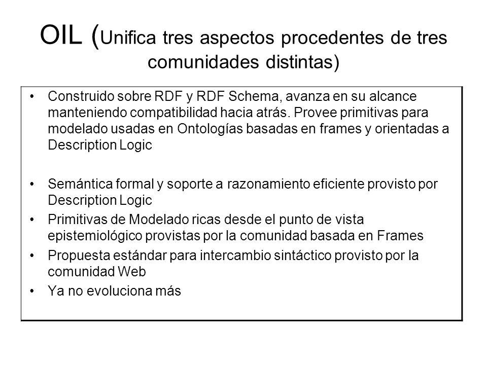 OIL ( Unifica tres aspectos procedentes de tres comunidades distintas) Construido sobre RDF y RDF Schema, avanza en su alcance manteniendo compatibilidad hacia atrás.