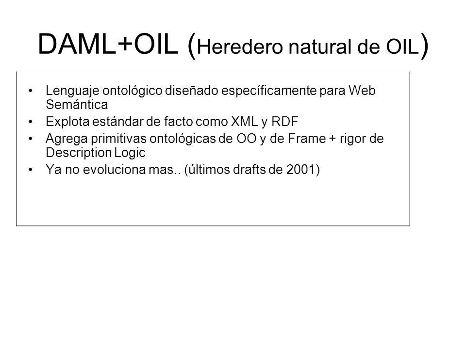 DAML+OIL ( Heredero natural de OIL ) Lenguaje ontológico diseñado específicamente para Web Semántica Explota estándar de facto como XML y RDF Agrega primitivas ontológicas de OO y de Frame + rigor de Description Logic Ya no evoluciona mas..