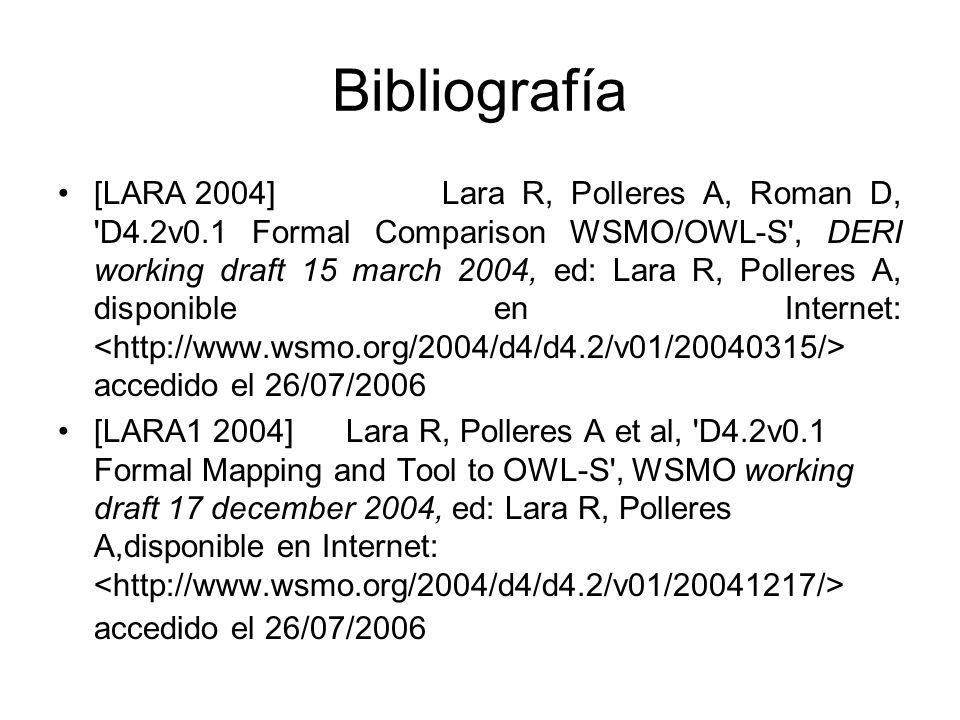 Bibliografía [LARA 2004]Lara R, Polleres A, Roman D, D4.2v0.1 Formal Comparison WSMO/OWL-S , DERI working draft 15 march 2004, ed: Lara R, Polleres A, disponible en Internet: accedido el 26/07/2006 [LARA1 2004]Lara R, Polleres A et al, D4.2v0.1 Formal Mapping and Tool to OWL-S , WSMO working draft 17 december 2004, ed: Lara R, Polleres A,disponible en Internet: accedido el 26/07/2006