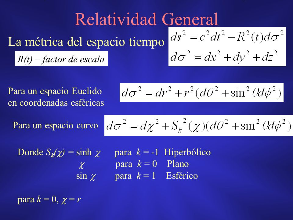Relatividad General La métrica del espacio tiempo Para un espacio Euclido en coordenadas esféricas Para un espacio curvo Donde S k ( ) = sinh para k =