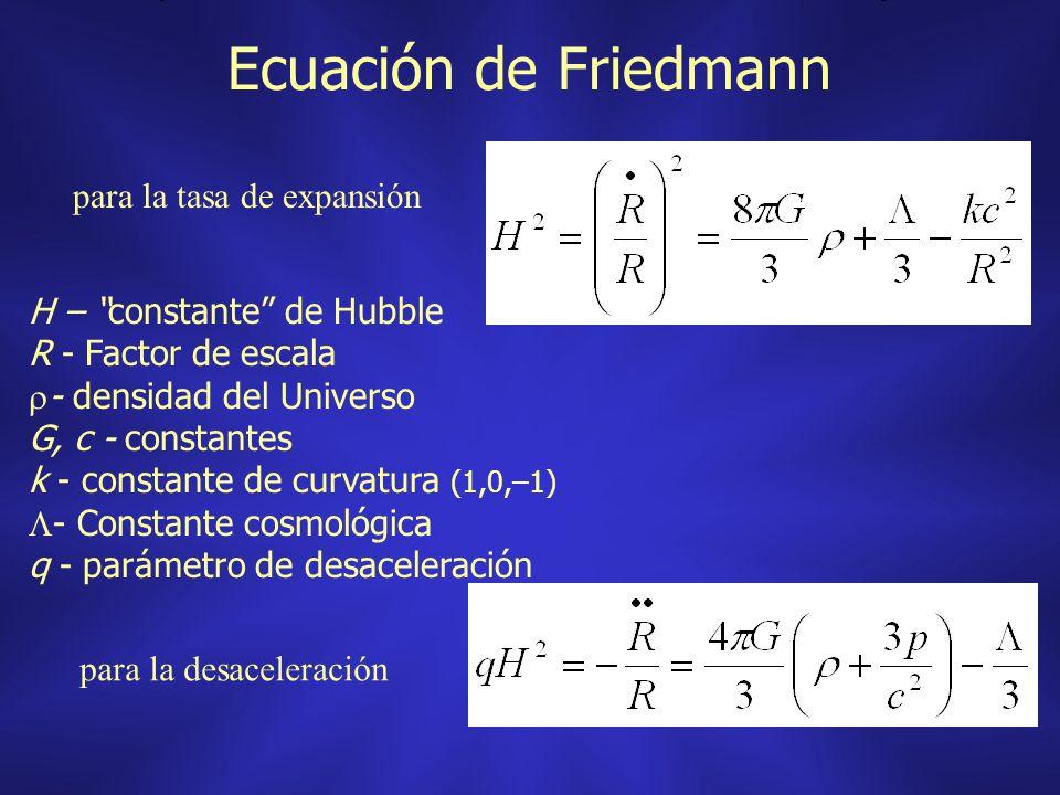 Ecuación de Friedmann H – constante de Hubble R - Factor de escala - densidad del Universo G, c - constantes k - constante de curvatura (1,0,–1) - Con