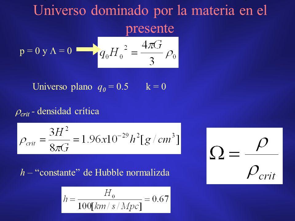 crit - densidad crítica h – constante de Hubble normalizda Universo dominado por la materia en el presente p = 0 y = 0 Universo plano q 0 = 0.5 k = 0
