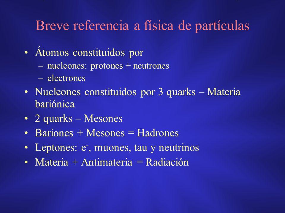 Breve referencia a física de partículas Átomos constituidos por –nucleones: protones + neutrones –electrones Nucleones constituidos por 3 quarks – Mat