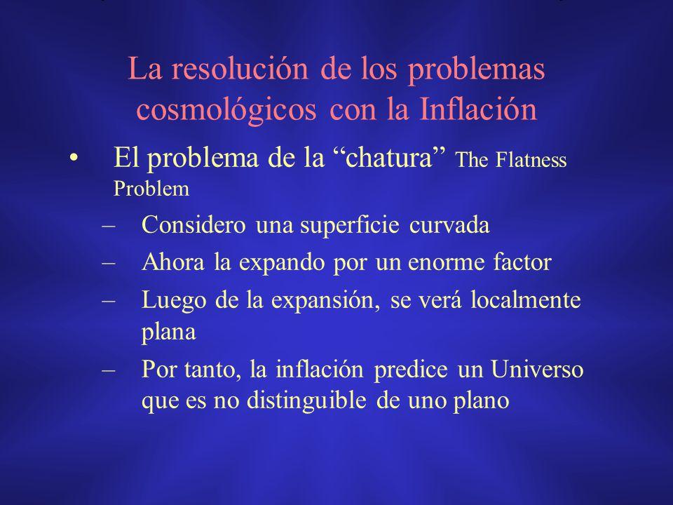 La resolución de los problemas cosmológicos con la Inflación El problema de la chatura The Flatness Problem –Considero una superficie curvada –Ahora l