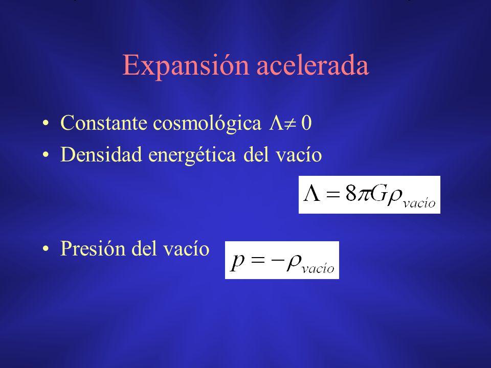 Expansión acelerada Constante cosmológica 0 Densidad energética del vacío Presión del vacío
