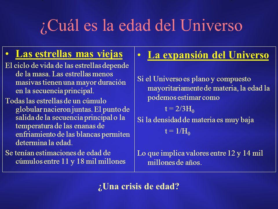 ¿Cuál es la edad del Universo Las estrellas mas viejas El ciclo de vida de las estrellas depende de la masa. Las estrellas menos masivas tienen una ma