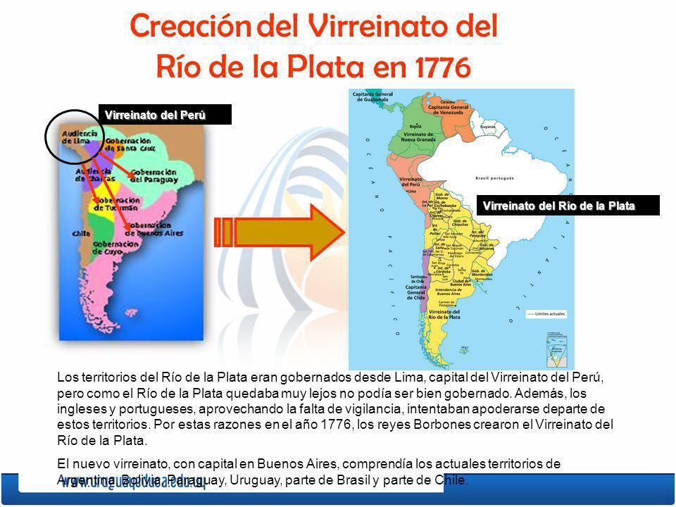 Creación del Virreinato del Río de la Plata en 1776 Los territorios del Río de la Plata eran gobernados desde Lima, capital del Virreinato del Perú, p
