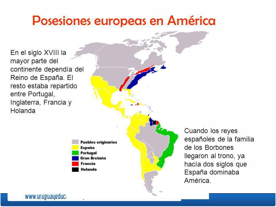 En el siglo XVIII la mayor parte del continente dependía del Reino de España. El resto estaba repartido entre Portugal, Inglaterra, Francia y Holanda
