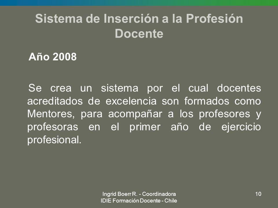Ingrid Boerr R. - Coordinadora IDIE Formación Docente - Chile 10 Sistema de Inserción a la Profesión Docente Año 2008 Se crea un sistema por el cual d