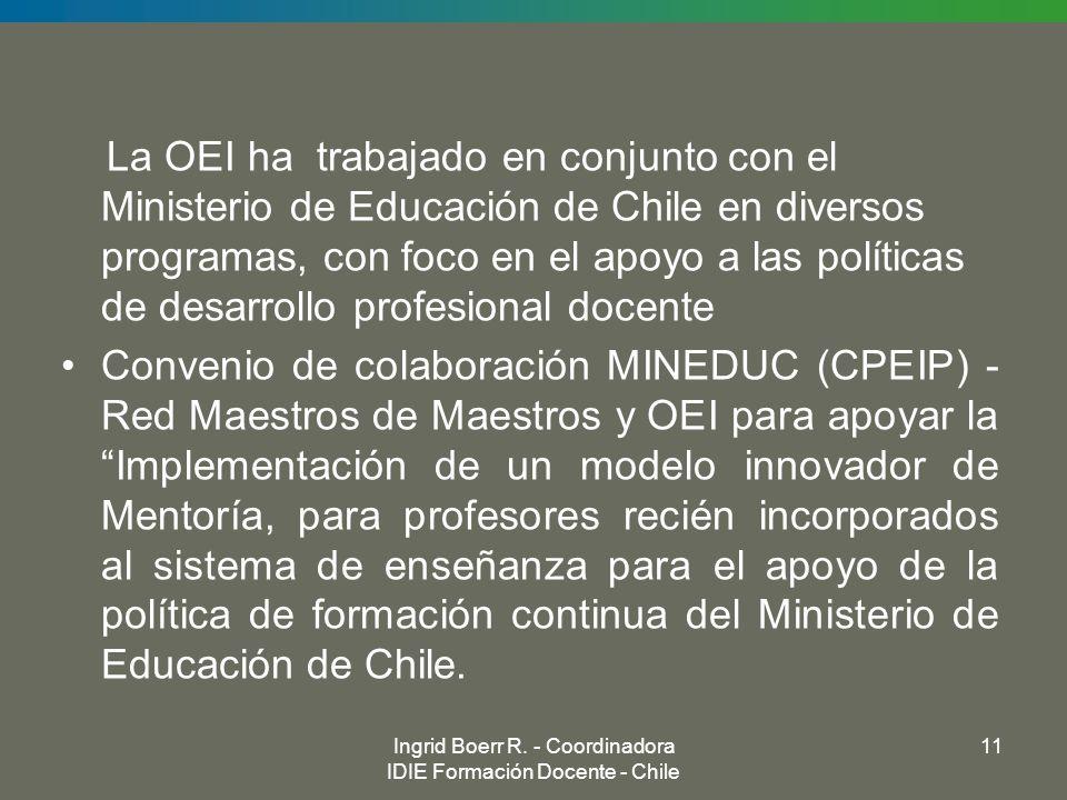 Ingrid Boerr R. - Coordinadora IDIE Formación Docente - Chile 11 La OEI ha trabajado en conjunto con el Ministerio de Educación de Chile en diversos p