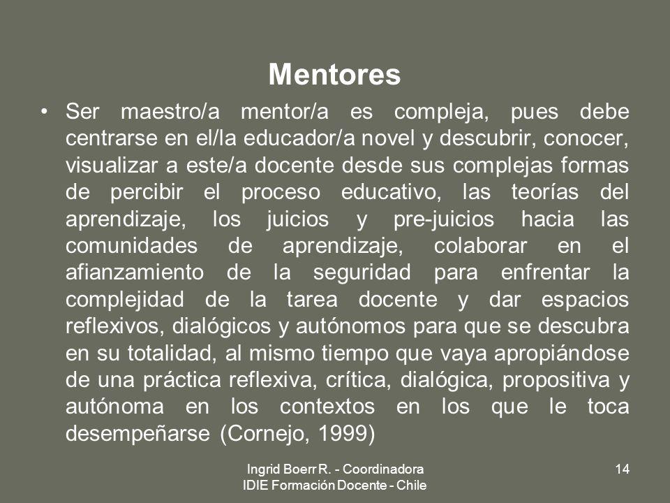 Mentores Ser maestro/a mentor/a es compleja, pues debe centrarse en el/la educador/a novel y descubrir, conocer, visualizar a este/a docente desde sus