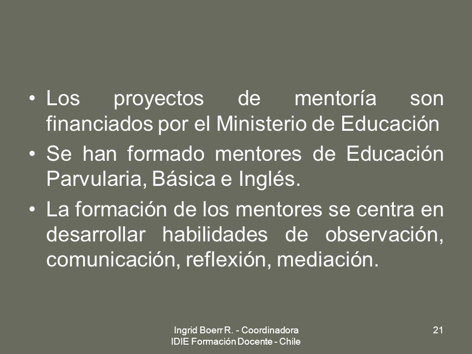 Los proyectos de mentoría son financiados por el Ministerio de Educación Se han formado mentores de Educación Parvularia, Básica e Inglés. La formació