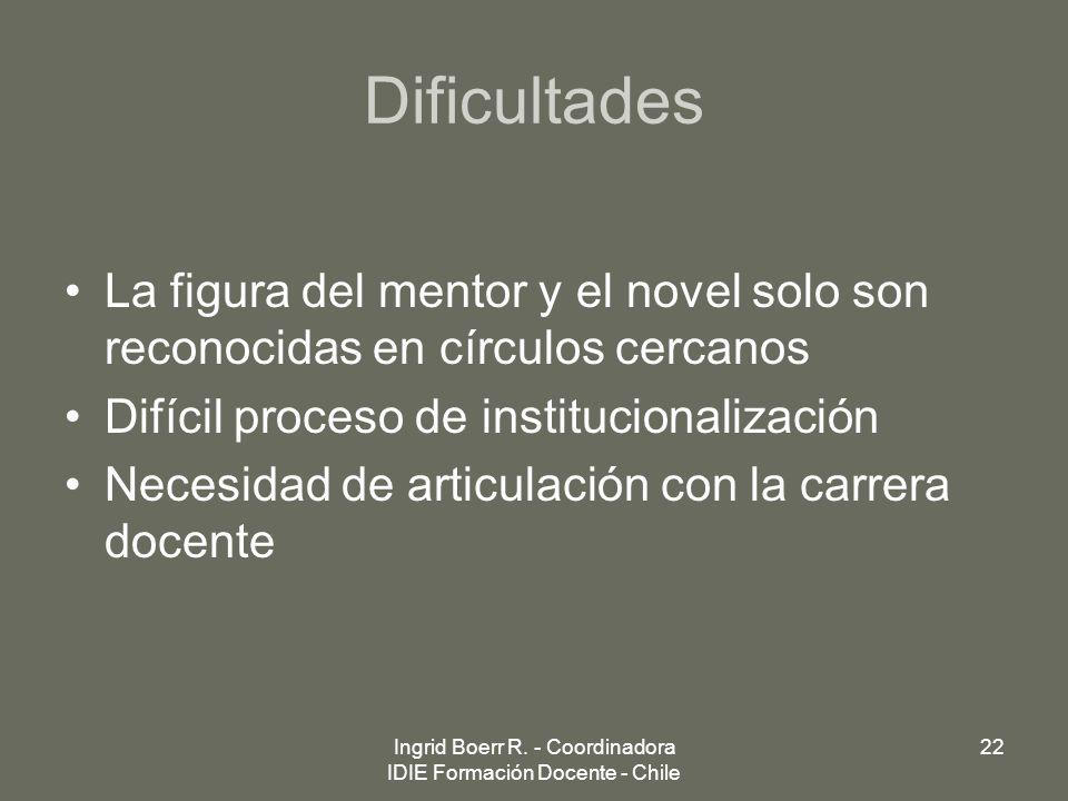 Dificultades La figura del mentor y el novel solo son reconocidas en círculos cercanos Difícil proceso de institucionalización Necesidad de articulaci