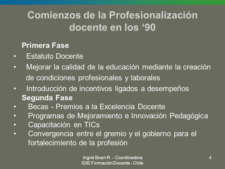 Ingrid Boerr R. - Coordinadora IDIE Formación Docente - Chile 4 Comienzos de la Profesionalización docente en los 90 Primera Fase Estatuto Docente Mej
