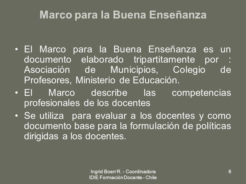 Ingrid Boerr R. - Coordinadora IDIE Formación Docente - Chile 6 Marco para la Buena Enseñanza El Marco para la Buena Enseñanza es un documento elabora